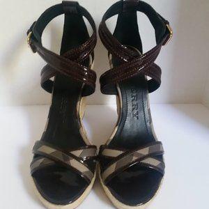 Burberry Burgundy Nova Cross Espadrille Sandals